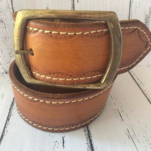 Accessories - Tooled Edge Brown Leather Western Style Belt